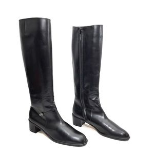 Ferragamo Black Leather Zip Up Riding Boots